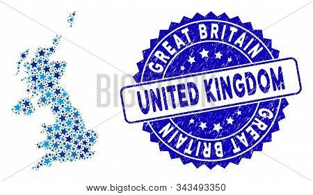 Blue United Kingdom Map Composition Of Stars, And Grunge Rounded Stamp. Abstract Geographic Plan In