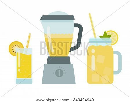 Pineapple Juice In A Glass, Pineapple Juice In A Blender And Yellow Cocktail In A Jar Vector Flat Is