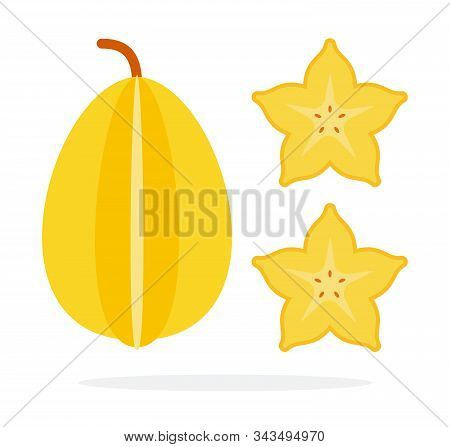 A Whole Fruit Of Carambola Vertically And Two Pieces Of Carambola Flat Isolated