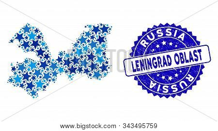 Blue Leningrad Oblast Map Mosaic Of Stars, And Scratched Rounded Stamp Seal. Abstract Geographic Pla