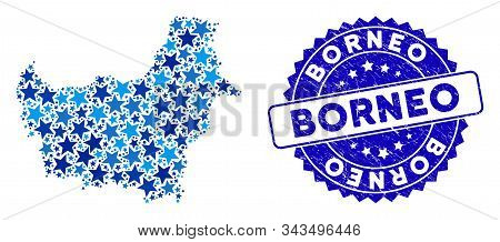 Blue Borneo Map Collage Of Stars, And Distress Round Stamp. Abstract Territorial Scheme In Blue Colo