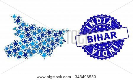 Blue Bihar State Map Composition Of Stars, And Scratched Round Seal. Abstract Territory Scheme In Bl