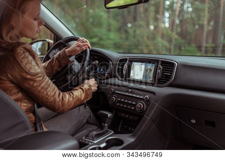 Woman In Car, Sitting Behind Wheel Car, Turns Car Engine On And Off, Turns Key Ignition Switch Car,