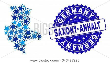 Blue Saxony-anhalt Land Map Collage Of Stars, And Textured Rounded Stamp Seal. Abstract Territorial