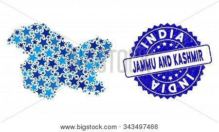Blue Jammu And Kashmir State Map Composition Of Stars, And Scratched Rounded Seal. Abstract Territor