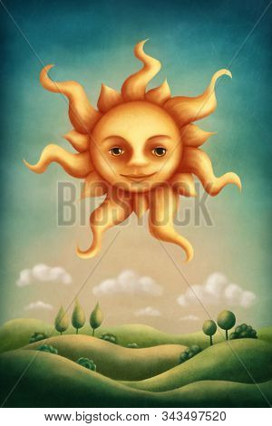 Illustration of a sun shining in the sky