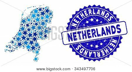 Blue Netherlands Map Mosaic Of Stars, And Distress Round Seal. Abstract Territory Scheme In Blue Col