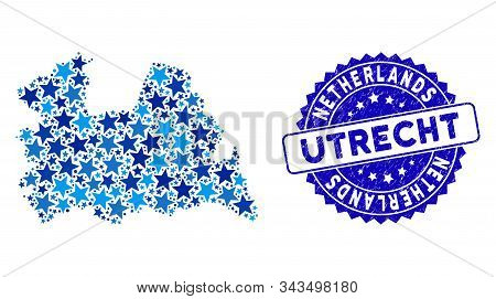 Blue Utrecht Province Map Composition Of Stars, And Scratched Rounded Stamp Seal. Abstract Geographi
