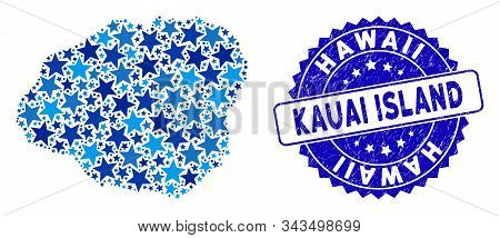 Blue Kauai Island Map Composition Of Stars, And Scratched Round Stamp Seal. Abstract Territory Plan