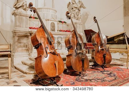 Tree cellos in a row on the stage