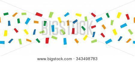 Seamless Horizontal Border Doodle Confetti. Vector Pattern Abstract Colorful Blocks Illustration. Ri