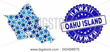 Blue Oahu Island Map Composition Of Stars, And Distress Round Stamp Seal. Abstract Territory Plan In