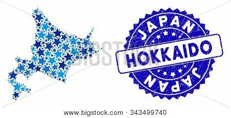 Blue Hokkaido Island Map Mosaic Of Stars, And Grunge Round Stamp. Abstract Territory Plan In Blue Co