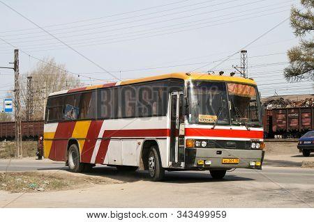 Asha, Russia - April 20, 2008: Intercity Coach Bus Hyundai Aero 600 In The City Street.