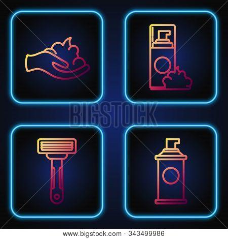 Set Line Shaving Gel Foam, Shaving Razor, Shaving Gel Foam On Hand And Shaving Gel Foam. Gradient Co
