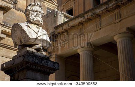 The Bust Of Giosue Carducci  On The Piazzetta Carducci In Lecce Puglia Italy