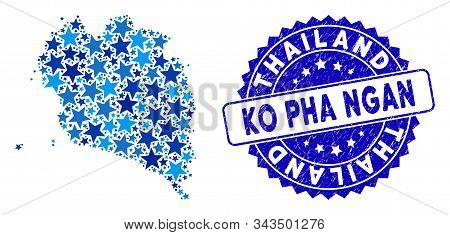 Blue Ko Pha Ngan Map Collage Of Stars, And Textured Round Stamp. Abstract Territory Plan In Blue Sha