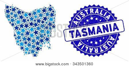 Blue Tasmania Island Map Composition Of Stars, And Textured Round Seal. Abstract Geographic Plan In