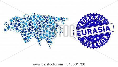 Blue Eurasia Map Collage Of Stars, And Grunge Round Stamp. Abstract Geographic Scheme In Blue Shades