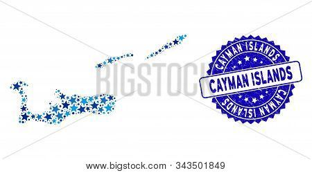 Blue Cayman Islands Map Composition Of Stars, And Scratched Round Seal. Abstract Territory Plan In B