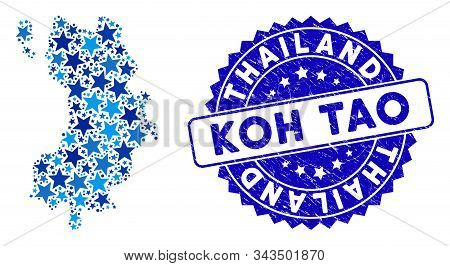 Blue Koh Tao Thai Island Map Mosaic Of Stars, And Distress Rounded Stamp Seal. Abstract Territory Pl