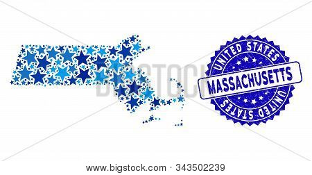 Blue Massachusetts State Map Collage Of Stars, And Distress Round Stamp Seal. Abstract Geographic Sc