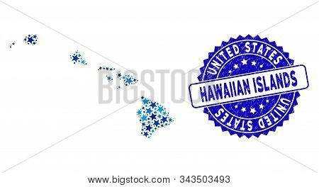 Blue Hawaiian Islands Map Collage Of Stars, And Scratched Rounded Seal. Abstract Geographic Scheme I