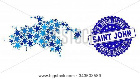 Blue Saint John Island Map Mosaic Of Stars, And Textured Round Stamp. Abstract Geographic Scheme In