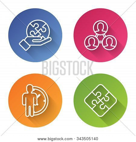 Set Line Piece Of Puzzle In Hand, Project Team Base, Time Management And Piece Of Puzzle. Color Circ