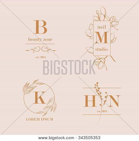 Vector Trendy Hand Drawn Beauty, Organic Cosmetics, Florist, Photography, Wedding Logos, Badges, Emb
