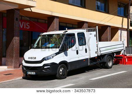 Monte-carlo, Monaco - March 12, 2019: White Cargo Truck Iveco Daily 35-140 In The City Street.