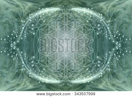 The Flower Of Life Mandala Background - Jade Green Ethereal Energy Background With Central Soft Focu
