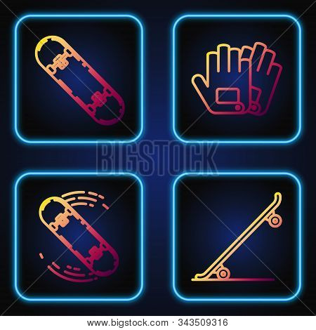 Set Line Skateboard, Skateboard Trick, Skateboard Trick And Gloves. Gradient Color Icons. Vector