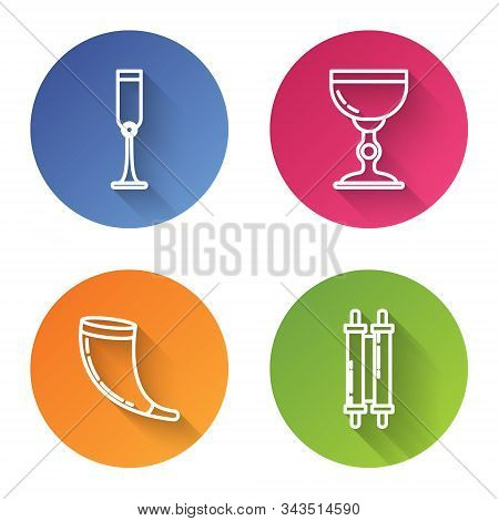 Set Line Jewish Goblet, Jewish Goblet, Traditional Ram Horn, Shofar And Torah Scroll. Color Circle B