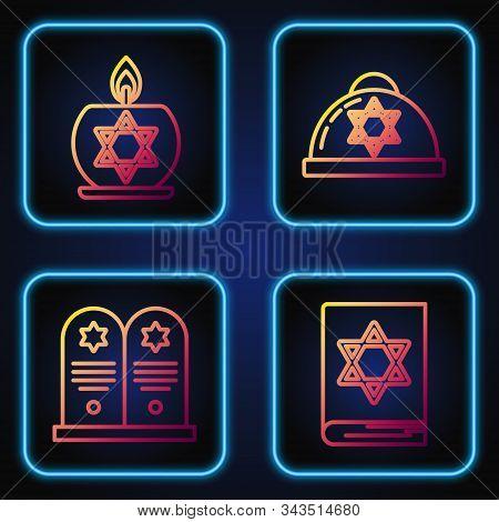 Set Line Jewish Torah Book, Tombstone With Star Of David, Burning Candle In Candlestick With Star Of
