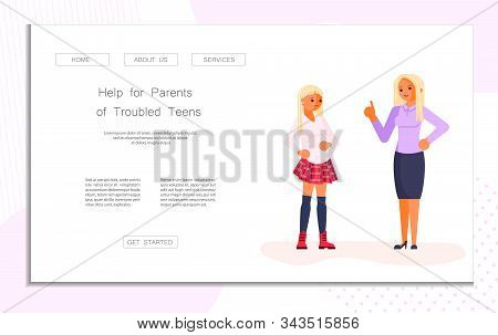 Landing Web Page Template With Motherhood And Education Of Adolescents. Parent And Teenager Relation
