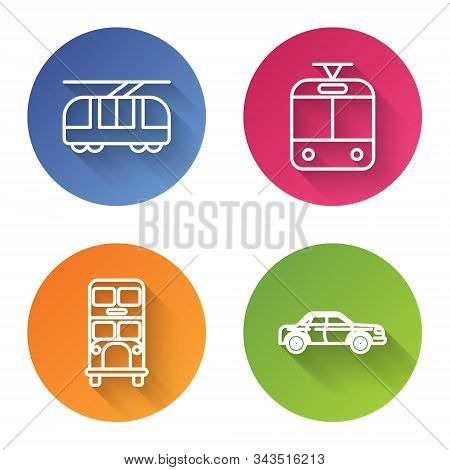 Set Line Tram And Railway, Tram And Railway, Double Decker Bus And Sedan Car. Color Circle Button. V