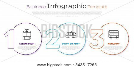 Set Line Tram And Railway, Tram And Railway And Double Decker Bus. Business Infographic Template. Ve