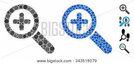 Zoom In Mosaic Of Round Dots In Different Sizes And Color Hues, Based On Zoom In Icon. Vector Dots A