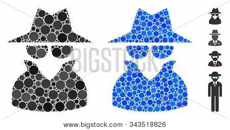 Spy Composition Of Round Dots In Various Sizes And Color Tones, Based On Spy Icon. Vector Round Dots