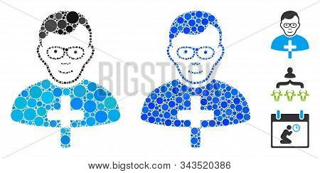 Catholic Shepherd Composition Of Round Dots In Different Sizes And Color Tints, Based On Catholic Sh