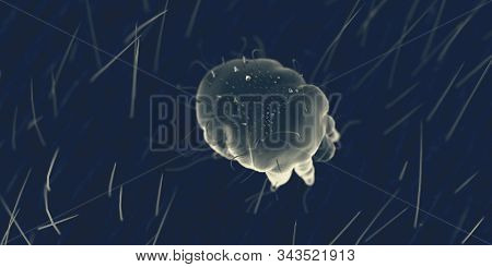 3d rendered illustration of a scabies mite on human skin, sem style