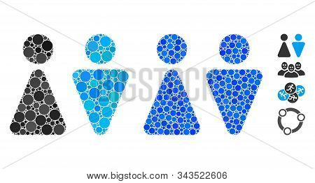 Wc Persons Mosaic Of Round Dots In Variable Sizes And Color Tones, Based On Wc Persons Icon. Vector