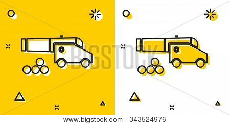 Black Cannon With Cannonballs Icon Isolated On Yellow And White Background. Medieval Weapons. Random