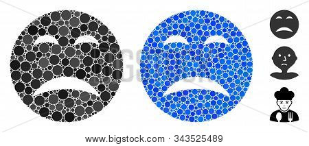 Pity Smiley Mosaic Of Round Dots In Various Sizes And Color Tinges, Based On Pity Smiley Icon. Vecto