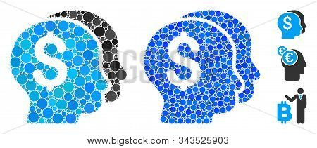 Bankers Composition Of Round Dots In Variable Sizes And Color Tones, Based On Bankers Icon. Vector R