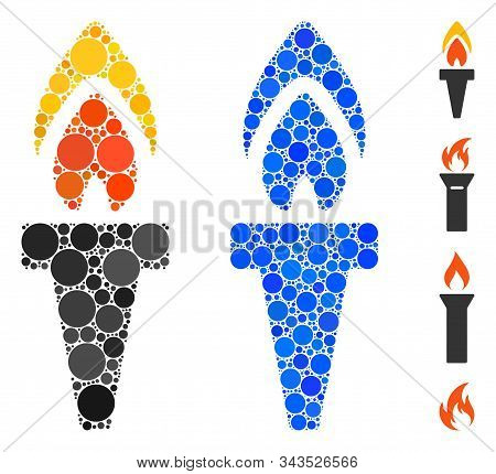 Torch Composition Of Round Dots In Different Sizes And Shades, Based On Torch Icon. Vector Dots Are