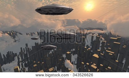Flying saucers over futuristic megapolis. Sunset. 3D rendering