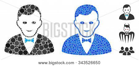 Croupier Manager Composition Of Filled Circles In Various Sizes And Color Hues, Based On Croupier Ma