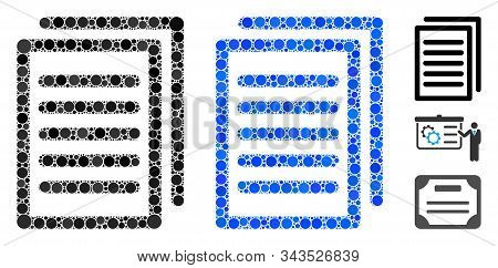 Copy Mosaic Of Small Circles In Different Sizes And Color Tints, Based On Copy Icon. Vector Small Ci